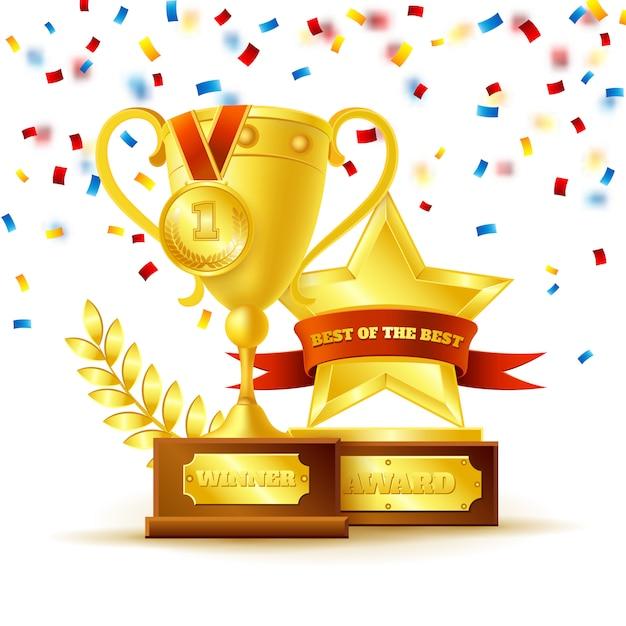 Coppa del vincitore con il concetto di medaglia d'oro Vettore gratuito