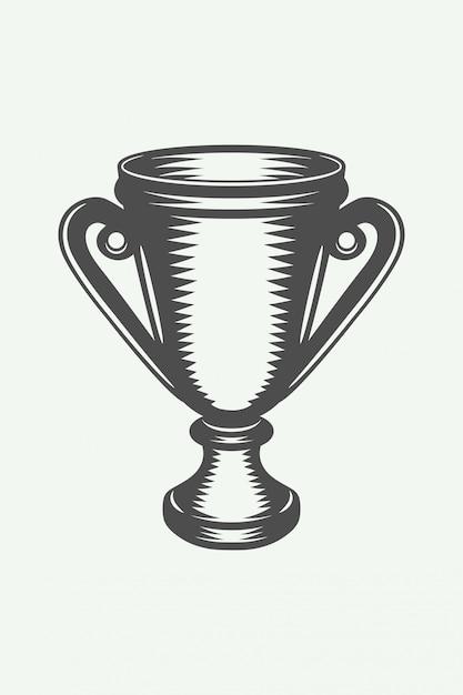 Coppa del vincitore vintage Vettore Premium