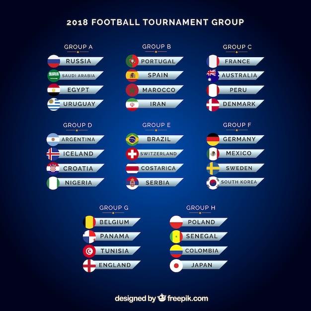Coppa di calcio con diversi gruppi Vettore gratuito