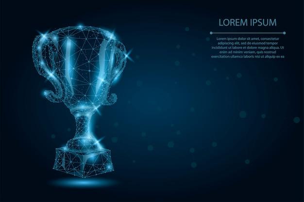 Coppa trofeo poligonale astratto. illustrazione di vettore low poly wireframe. premio dei campioni per la vittoria sportiva Vettore Premium