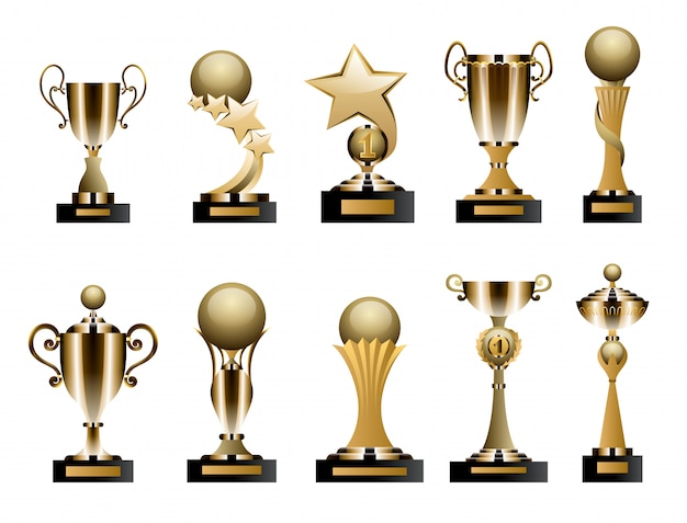 Coppe e premi trofeo d'oro Vettore Premium