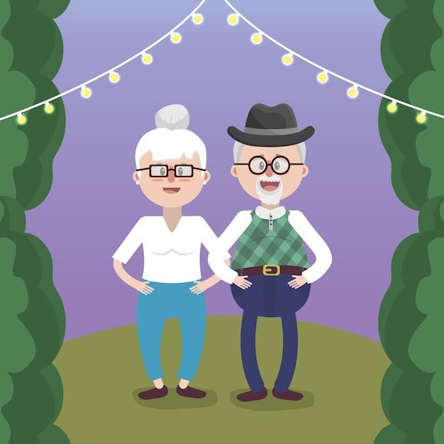 Coppia adorabile dei nonni Vettore Premium