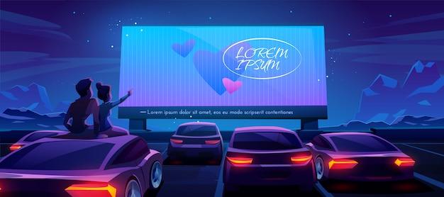 Coppia al cinema automobilistico, incontri nel teatro drive-in Vettore gratuito