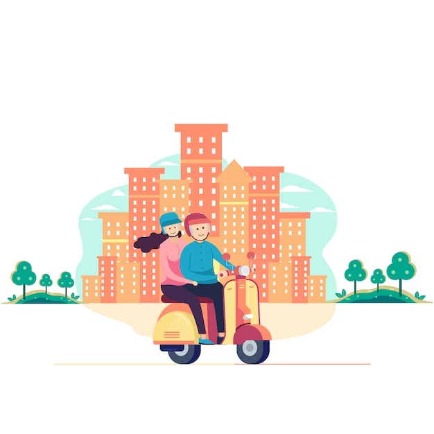 Coppia alla guida di scooter in città Vettore Premium