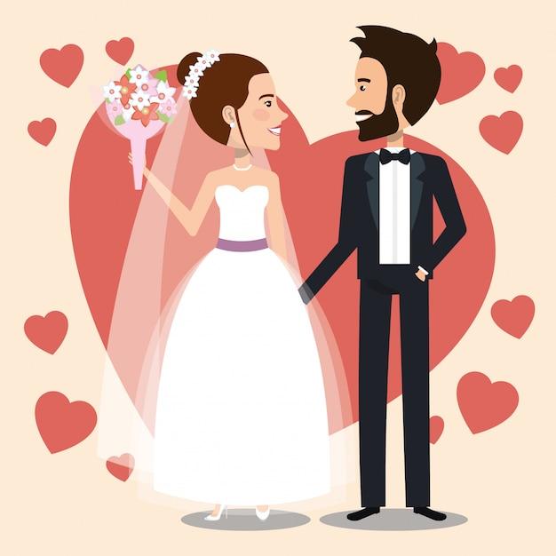 Coppia appena sposata con i cuori avatar personaggi Vettore gratuito
