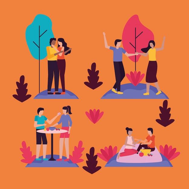 Coppia attività romantiche all'aperto in appartamento Vettore gratuito