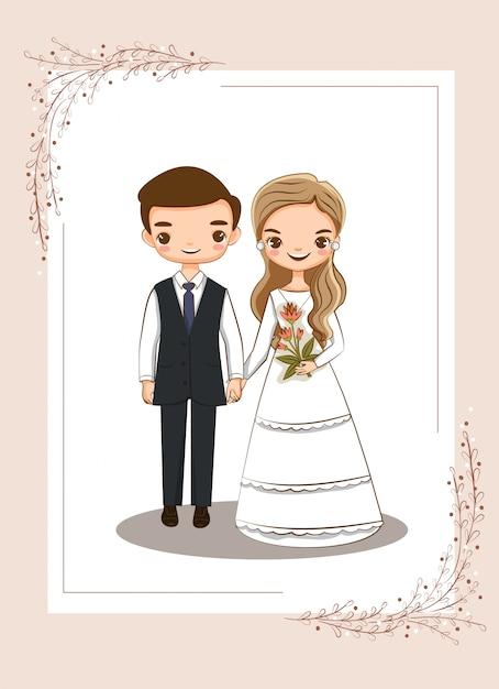 Coppia carina per la carta di inviti di nozze Vettore Premium