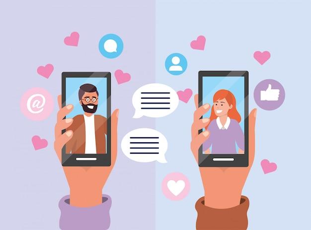 Coppia chat bubble con tecnologia smartphone Vettore Premium
