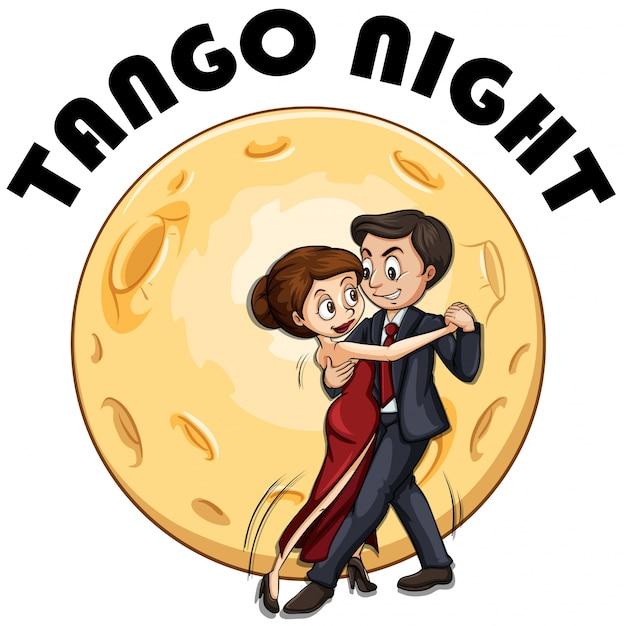 Coppia che balla in una notte di luna piena Vettore gratuito