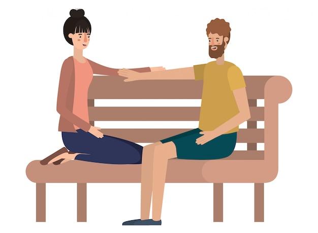 Coppia che si siede nel personaggio di avatar sedia parco Vettore Premium