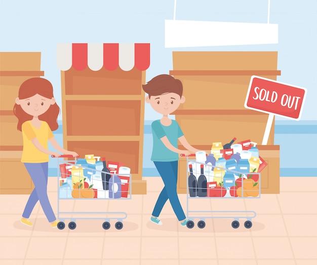 Coppia con carrello pieno di prodotti alimentari esaurito ripiani acquisto in eccesso Vettore Premium