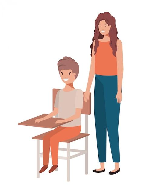 Coppia con personaggio di avatar di banco di scuola Vettore Premium