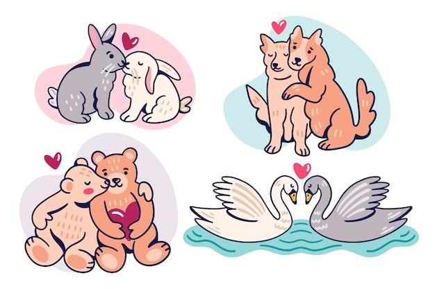 Coppia di animali san valentino carino Vettore gratuito