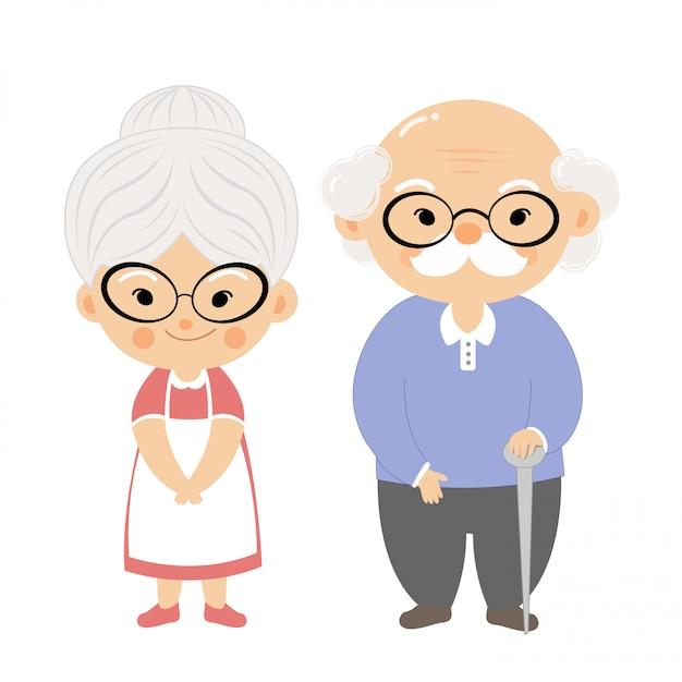 Coppia di anziani con la faccia di sorriso. Vettore Premium