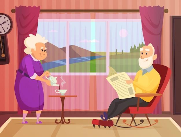 Coppia di anziani in casa Vettore Premium