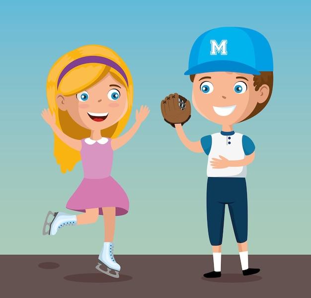 78160bf94e Coppia di bambini felici che giocano personaggi sportivi Vettore Premium