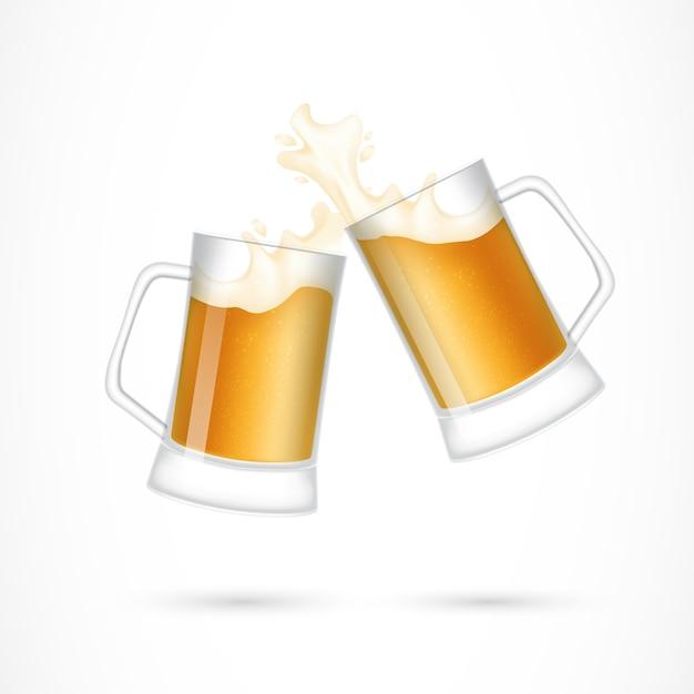 Coppia di bicchieri di birra illustrazione Vettore gratuito