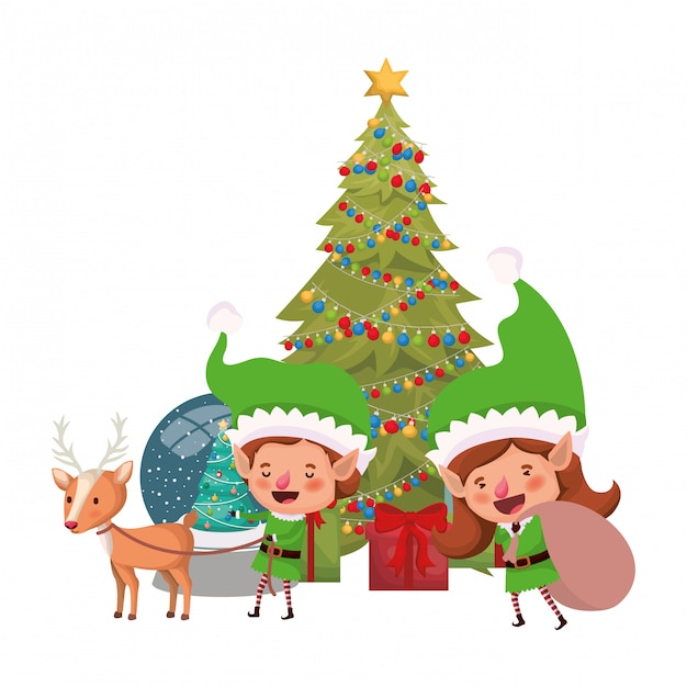 Coppia di elfi con albero di natale Vettore Premium