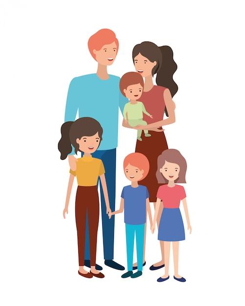 Coppia di genitori con bambini avatar personaggio Vettore Premium