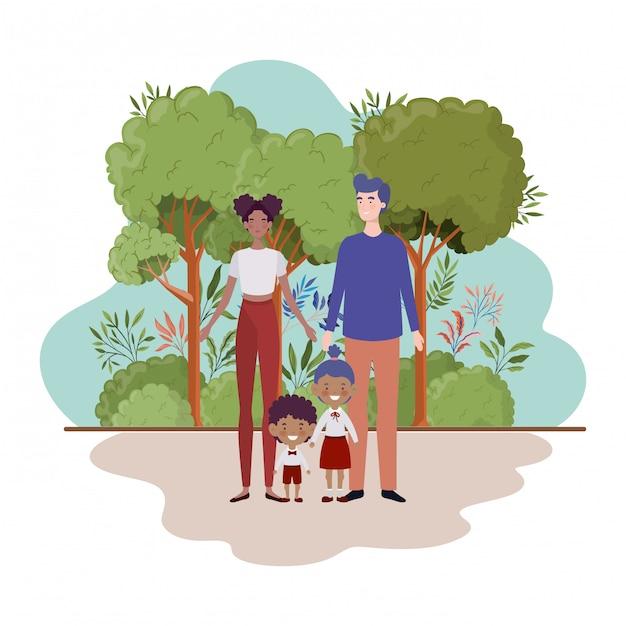 Coppia di genitori con bambini nel paesaggio Vettore Premium