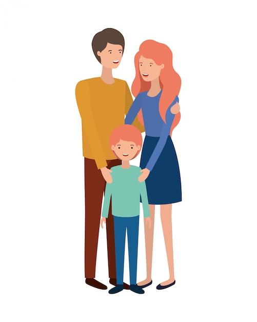Coppia di genitori con carattere avatar figlio Vettore Premium