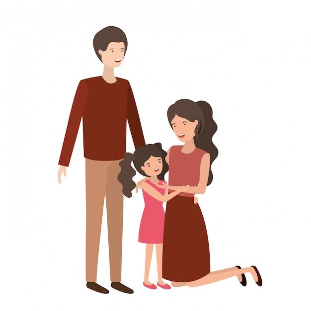 Coppia di genitori con carattere di figlia avatar Vettore Premium