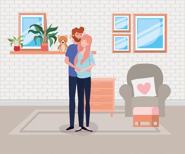 Coppia di gravidanza in scena soggiorno Vettore gratuito