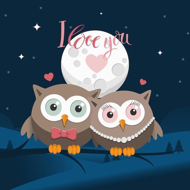 Coppia di gufi in amore di notte con il messaggio Vettore Premium