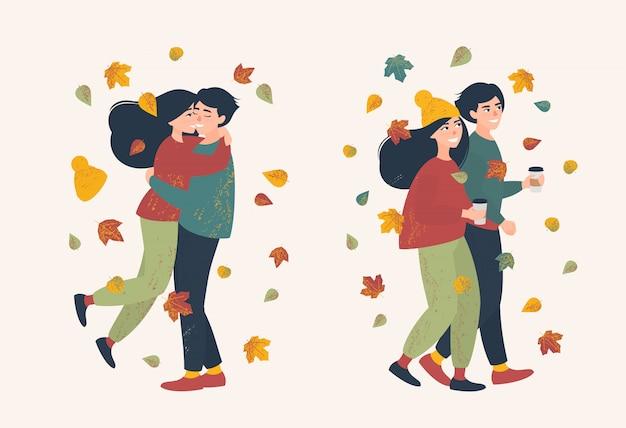 Coppia di innamorati in una passeggiata in una giornata autunnale illustrazione Vettore Premium