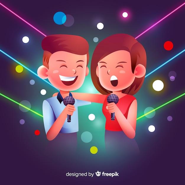 Coppia di karaoke Vettore gratuito