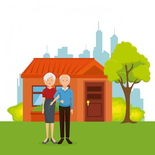 Coppia di nonni lontano da casa Vettore gratuito
