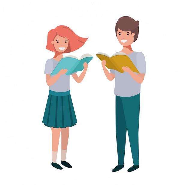 Coppia di studenti con il libro di lettura nelle mani Vettore gratuito