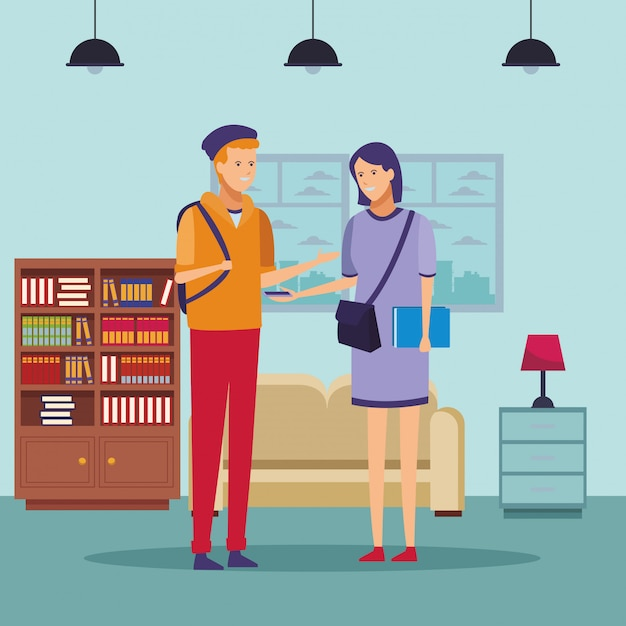 Coppia di studenti vestiti parlare casa Vettore Premium