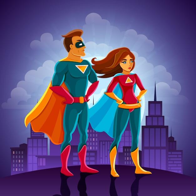 Coppia di supereroi Vettore gratuito