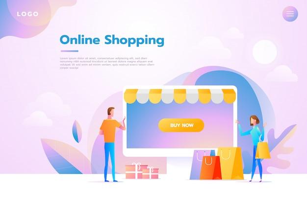 Coppia felice facendo shopping online insieme e portando borse della spesa Vettore Premium
