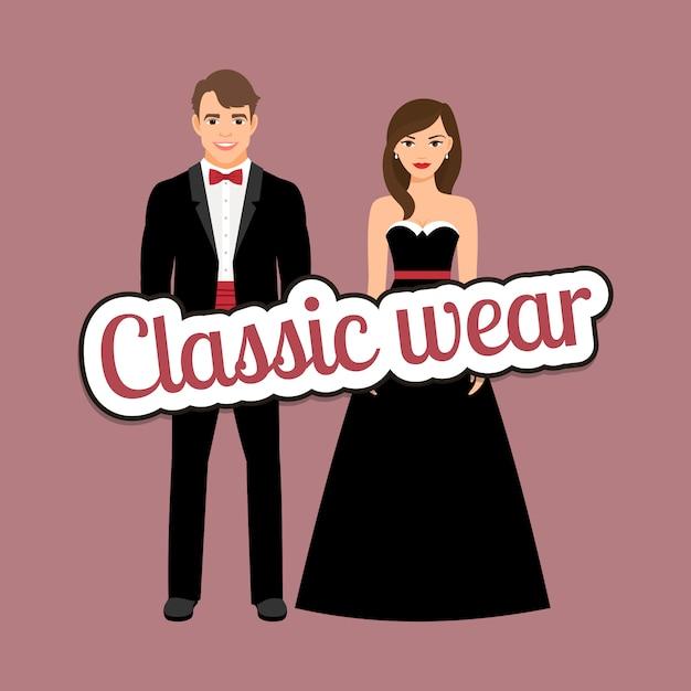 Coppia felice in abiti classici scuri Vettore Premium