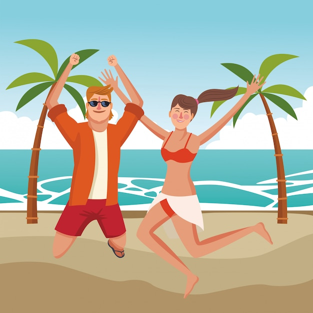 Coppia felice in cartoni animati d'estate Vettore gratuito