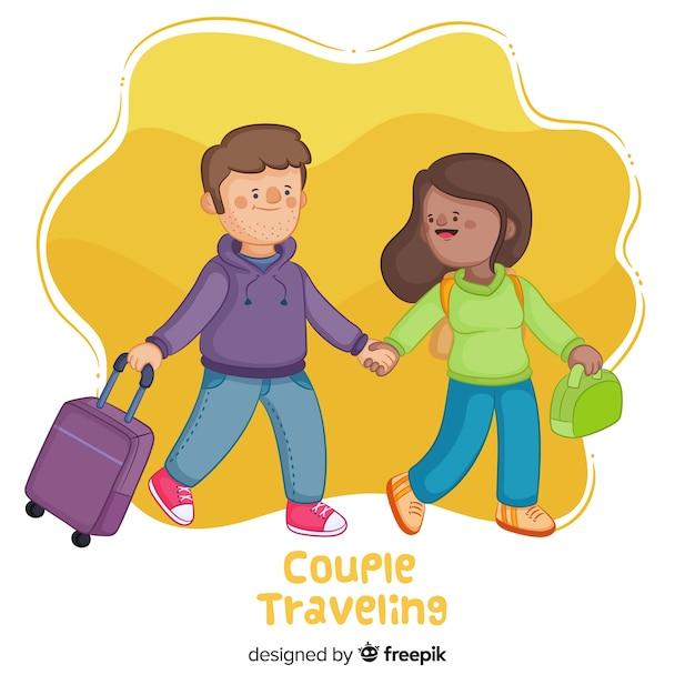 Coppia felice in viaggio in stile cartone animato Vettore gratuito