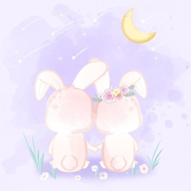 Coppia il coniglio che si siede guardando un fumetto disegnato a mano della doccia di meteora Vettore Premium
