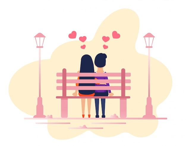 Coppia in amore seduti insieme sulla panchina del parco Vettore Premium
