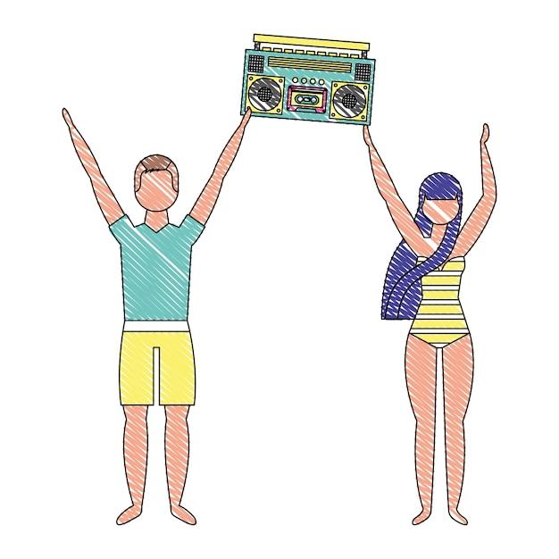 Coppia in costume da bagno con radio stereo boombox Vettore Premium