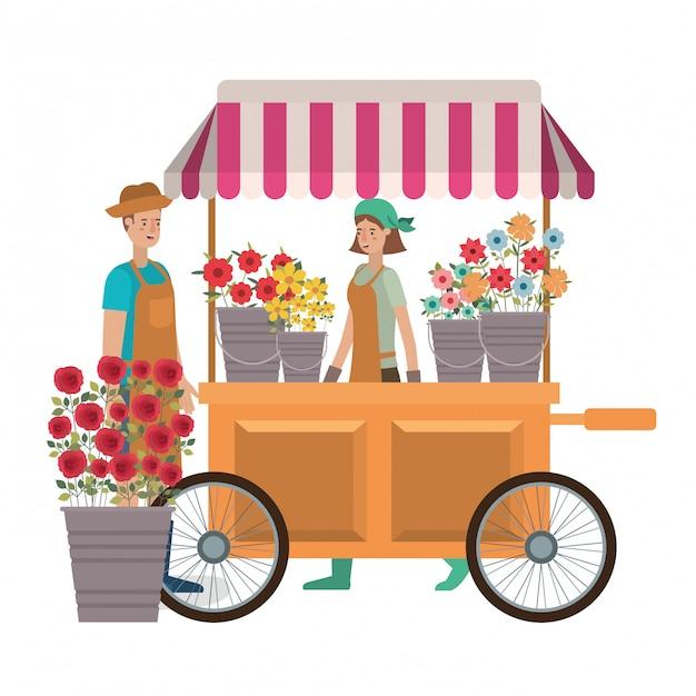 Coppia in negozio chiosco con fiori avatar personaggio Vettore Premium