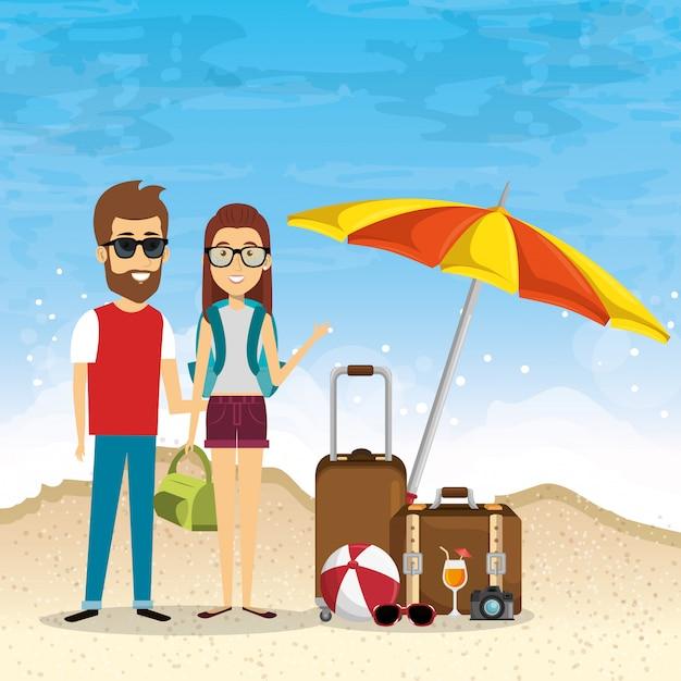 Coppia in spiaggia vacanze estive Vettore gratuito