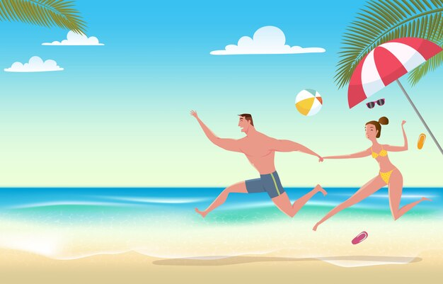 Coppia in vacanza al mare. Vettore Premium