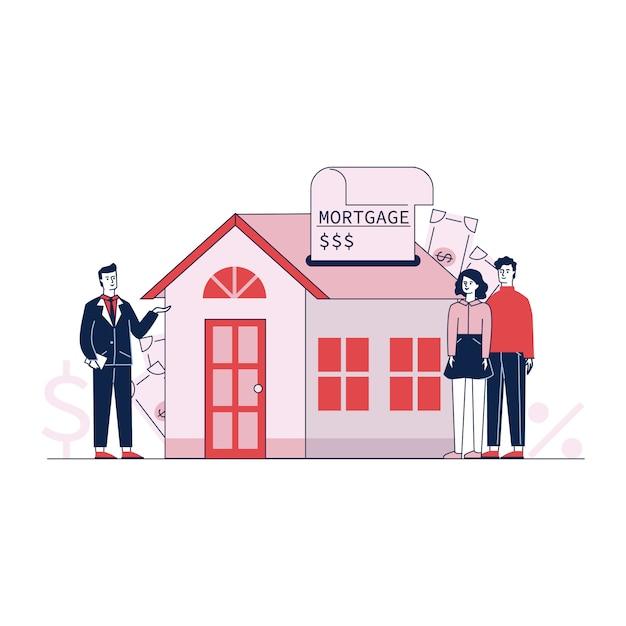 Coppia l'acquisto della proprietà domestica con l'illustrazione di vettore di credito bancario Vettore gratuito