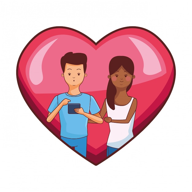 Coppia millenaria nel cartone animato cornice cuore Vettore Premium