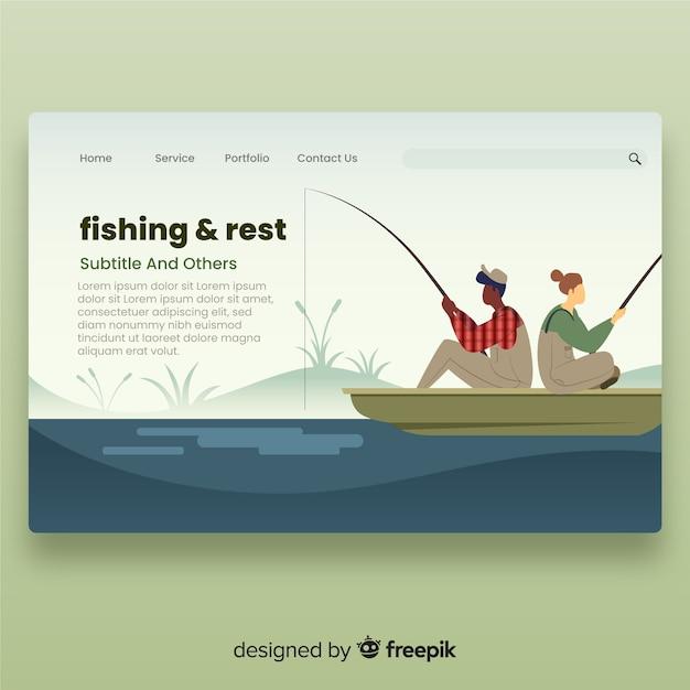 Coppia pagina di destinazione di pesca Vettore gratuito