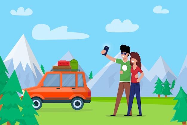 Coppia prendendo selfie sulle montagne di sfondo. Vettore Premium