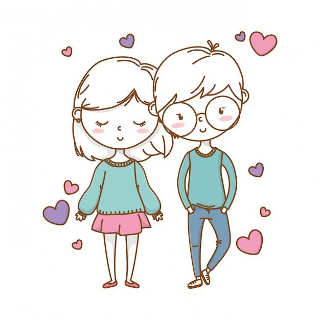 Coppia romantica amore carino Vettore Premium