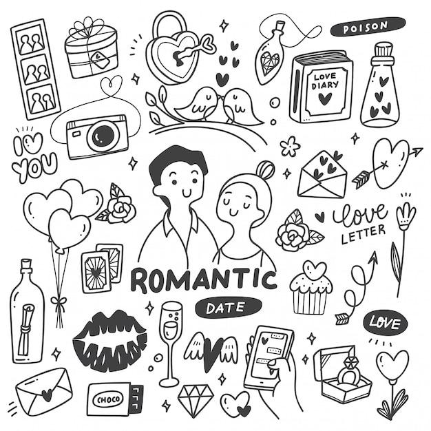 Coppia Romantica Con Disegnini Carini Vettore Premium